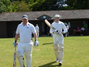 H's lads stroll out to open the batting