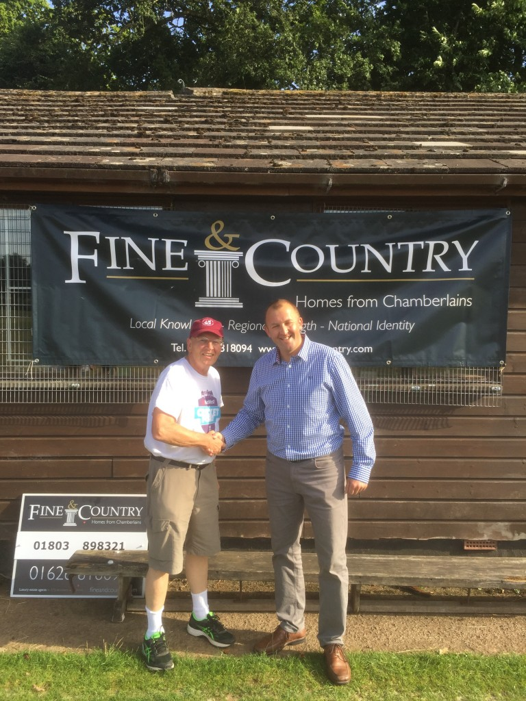 Dartington and Totnes Chariman Mick Rusling welcomes match sponsor Ian Bransdon of Fine and Country property agents